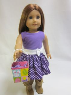 18 inch American Girl Doll Clothes - Easter Spring dress and easter Basket