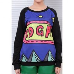 $7.09 Color Block Cartoon Print Long Sleeves Cotton Blend Casual Style Sweatshirt For Women