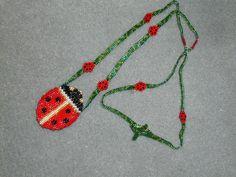 peyote amulet bags | Ladybug Amulet Bag