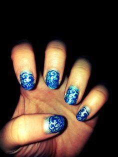 Waves stamping nail art