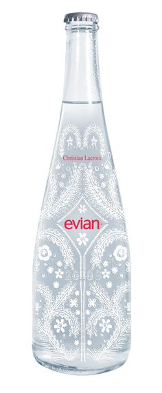 """Is it Lacroix, I'll love it if it's Lacroix."" Christian Lacroix for Evian Water Packaging, Bottle Packaging, Christian Lacroix, Label Design, Branding Design, Design Packaging, Package Design, Graphic Design, Coca Cola"