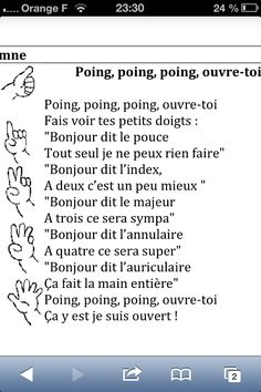 French Teaching Resources, Teaching French, French Poems, Finger Gym, Core French, Kids Poems, How To Speak French, French Lessons, French Language