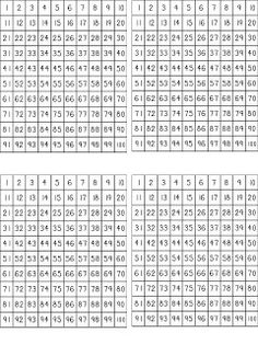 free hundred charts to print out