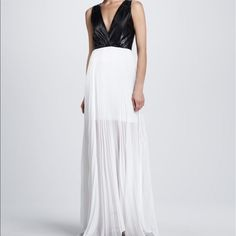 Alice + Olivia White Luna Leather Top Maxi Dress
