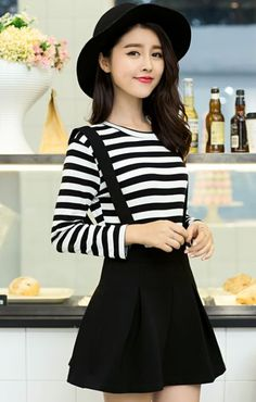Strip long sleeve straps two pieces dress _Two Pieces Dress_Dresses_Women's Clothes_Wholesale clothing from China fashion online shop. Cheap Korean fashion clothes, high heels shoes, T shirts, dresses and clothing on sale.
