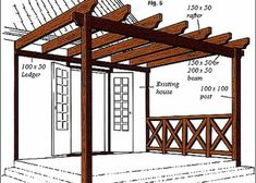 Learn how to build a outdoor pergola or wooden pergola for your garden with this professional pergola plans. If you build pergola in backyard patio you will see Diy Pergola, Building A Pergola, Wooden Pergola, Outdoor Pergola, Cheap Pergola, Diy Patio, Pergola Roof, Garage Pergola, Wedding Pergola