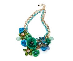 Super Chunky Floral Statement Necklace in Green