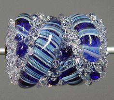 Blue lampwork focal bead