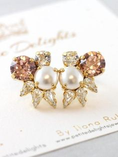 Buy Now Blush Crystal Bridal Studs Swarovski Cluster Studs...