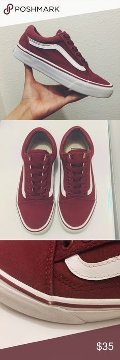 Vans Old Skool Maroon colored vans old skool. Men's 4. Women's 5.5 Some signs of wear on the soles, not noticeable when worn but the uppers are in super great condition. They are extremely stylish! Always get compliments on these  FEEL FREE TO MAKE OFFERS ! Vans Shoes