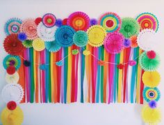 Mexican Fiesta DIY Photo Wall #mexican #fiesta #love #engagement #wedding #party #colorful #diy Mexican Fiesta Party, Fiesta Theme Party, Party Themes, Mexican Party Decorations, Paper Decorations, Birthday Party Decorations, Diy Birthday, 1st Birthday Parties, Backdrops For Parties