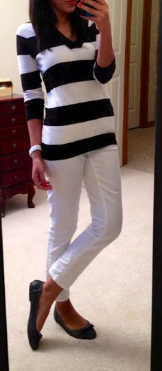 Summer whites with stripes and a chic scarf. Sweater from Loft outlet, Jessica Simpson pumps. Striking outfit.