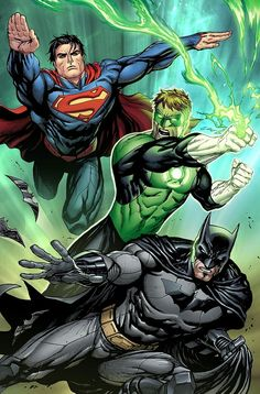 Superman, Batman and Green Lantern by Tyler Kirkham.