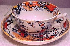 Antique Imari Blue Transfer Ware Cup and Saucer 1830s 1850
