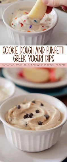 These cookie dough and funfetti greek yogurt dips are absolutely perfect with sliced apples.
