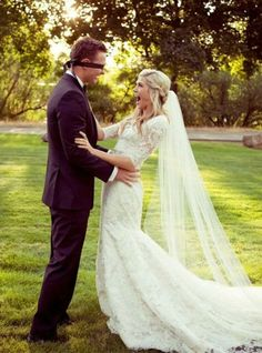 Grab a blindfold for an adorable first look photo! | Tracy Hill Photography