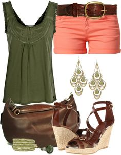 """""""Olive and Coral"""" by angela-windsor on Polyvore"""