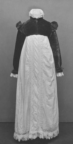 V Collections: Gown & spencer, ca. 1820, England - cotton with whitework & embroidery