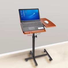 Mobile Portable Adjustable Rolling Laptop Cart Desk