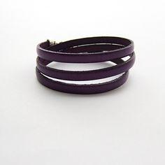 Simple leather three , potrójna skórzana fioletowa - NaLeMi-jewellery - Bransoletki