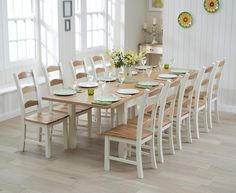 Buy the Somerset 180cm Oak and Cream Extending Dining Table with Chairs at Oak Furniture Superstore