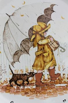 Good friends are sunshine on a rainy day - Holly Hobbie Holly Hobbie, Umbrella Art, Under My Umbrella, She And Her Cat, Rain Art, Ecole Art, Singing In The Rain, Vintage Cards, Clipart