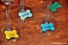 You can make these dog bone wine charms for your guests using colored card stock and rings from a local craft store.