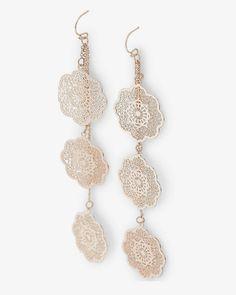 filigree medallion dangle earrings