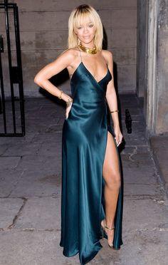 Rihanna in a Giorgio Armani gown at the Stella McCartney Presentation at London Fashion Week F/W 12