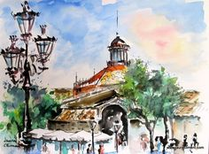 Barcelona. Born Market. (Watercolor) Meli Melo, Sketch Inspiration, Urban Sketching, Barcelona, Landscape, Deco, Sketchbooks, Drawings, Watercolors