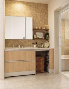 洗面所のはなし*造作かシステムか の画像|Today is lovely day Interior Design Living Room, Bathroom Vanity, Small Kitchen, Interior, House, Home Decor, Room, Dressing Room, Bathroom