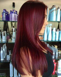 Long Straight Burgundy Hair