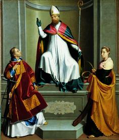 Giovan Battista Moroni - San Gottardo sul trono con San Lorenzo e Santa Caterina d'Alessandria - 1574-1575 - Chiesa di Gorlago (Bergamo, Italia)