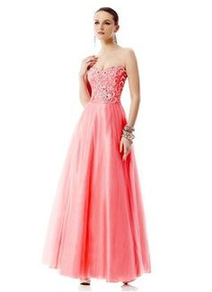 A-Line/Princess Strapless Sweetheart Floor-Length Organza Charmeuse Prom Dress With Lace Beading
