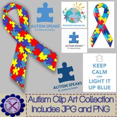 Autism Awareness Clip Art Collection Lot of 31 - Its Free! : ScrapPNG, Digital Craft Graphics