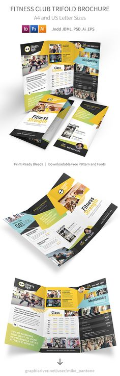 Fitness Tri Fold Brochure Template PSD Broachure Design