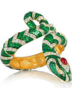 Kenneth Jay Lane 22 Karat Gold Plated Crystal Snake Bracelet