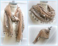 Brown Lace Scarf Spring Fresh februari Trending Moderne Dames mode-maart - Door PIYOYO