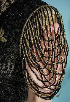 c. 1890 VICTORIAN Jet Black and Gold Glass Beading Bodice on Net with Open Beaded Sleeves (sleeve detail)