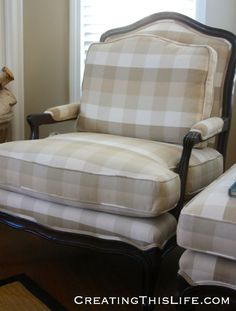 French chair with buffalo plaid fabric