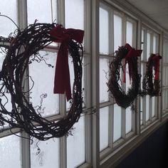 Vine wreaths In a Frozen porch