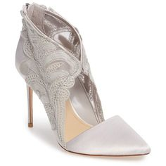 Women's Imagine By Vince Camuto Obin Lace Detailed Pointy Toe Pump (€150) ❤ liked on Polyvore featuring shoes, pumps, grey mist satin, pointy toe stilettos, pointed-toe pumps, satin pumps, gray pumps and evening pumps