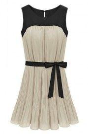 ROMWE Bowknot Sleeveless Color Block Cream Crepe Dress