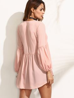 Online shopping for Pink V Neck High Low Blouse from a great selection of women's fashion clothing & more at MakeMeChic.COM.