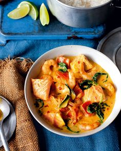 This recipe makes a double batch of the fragrant curry sauce, so you can pop half in the freezer. Cook the rest with prawns, spinach and salmon for a