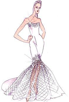 Wedding dress sketch for Jennifer Aniston | David's Bridal | brides.com