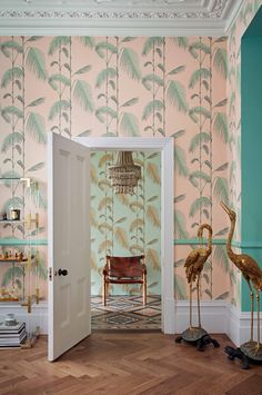 Palm Leaves by Cole & Son - Alabaster Pink and Mint - Wallpaper : Wallpaper Direct Mint Wallpaper, Palm Leaf Wallpaper, Funky Wallpaper, Oriental Wallpaper, Tropical Wallpaper, Pink Wallpaper Living Room, Pink And Green Wallpaper, Cole Son, Cole And Son Wallpaper