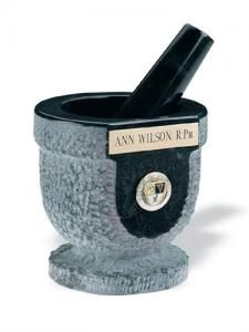 """Mortar & Pestle, Chiseled Marble & Personalized Item C339 Hand chiseled from a block of marble, this personalized mortar & pestle makes an excellent presentation piece. Add any name or business title to the engraved brass plate above the titled logo.  Mortar is approximately 4""""H x 4"""" diameter."""