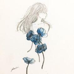 fragrance . #art #artwork #illustration #watercolor #girl #flower #イラスト #女の子 #水彩 #青