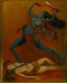 Indian Goddess Kali, Durga Goddess, Indian Gods, Om Namah Shivaya, Composition Painting, Kali Mata, Sacred Feminine, Divine Feminine, Ganesh Images